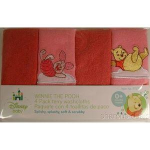 Pink Baby Disney Washcloths Winnie The Pooh Piglet
